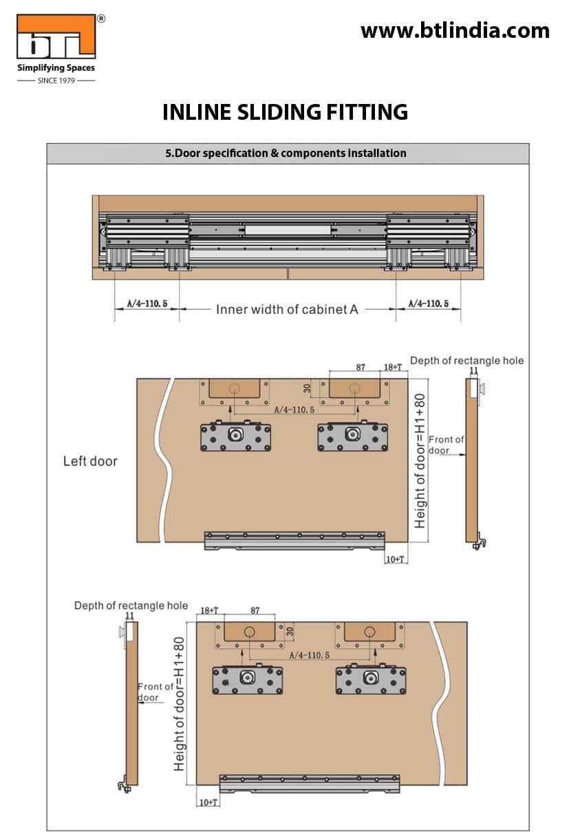 BTL Wardrobe Inline Sliding Fitting For Cabinet Width 1800mm - Installation Instructions & Specifications