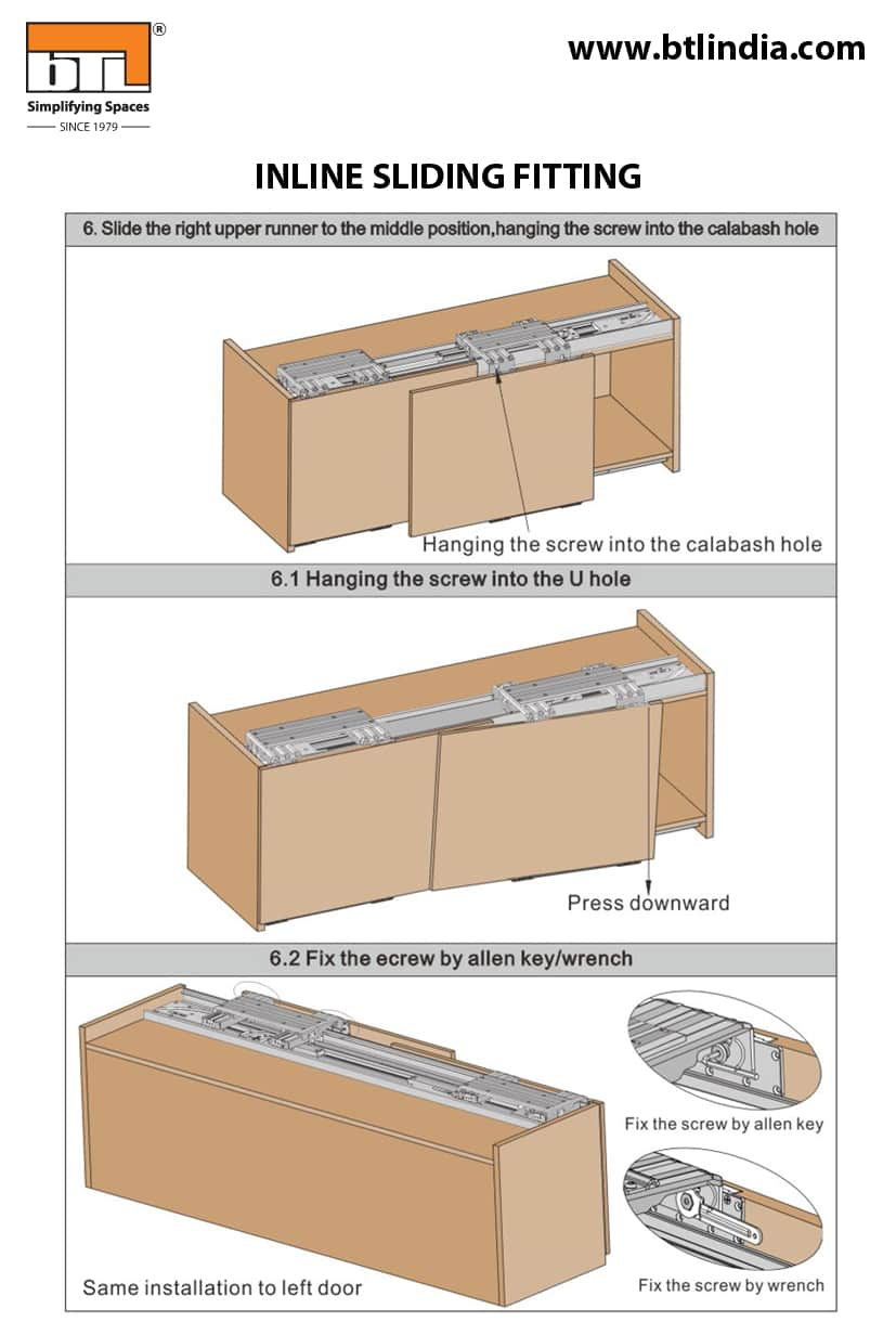 BTL Wardrobe Inline Sliding Fitting For Cabinet Width 1800mm - Sliding fittings Specifications