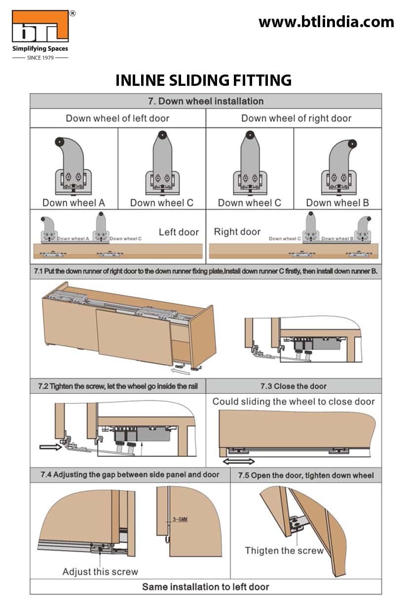 BTL Wardrobe Inline Sliding Fitting For Cabinet Width 1800mm - Down Wheel Installation Instructions