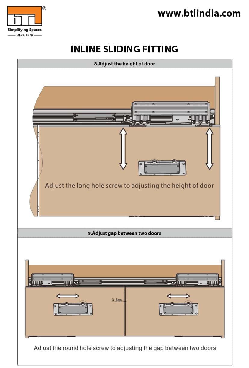 BTL Wardrobe sliding door fittings India Width 1800mm - Installation Details