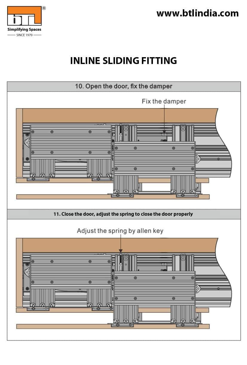 BTL Wardrobe Inline Sliding Fitting For Cabinet Width 1800mm - Installation Details & Specifications