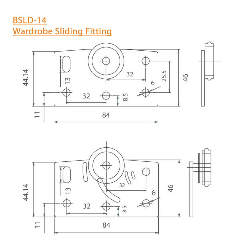 BTL Wardrobe Sliding Fitting - BSLD-14 - Specifications