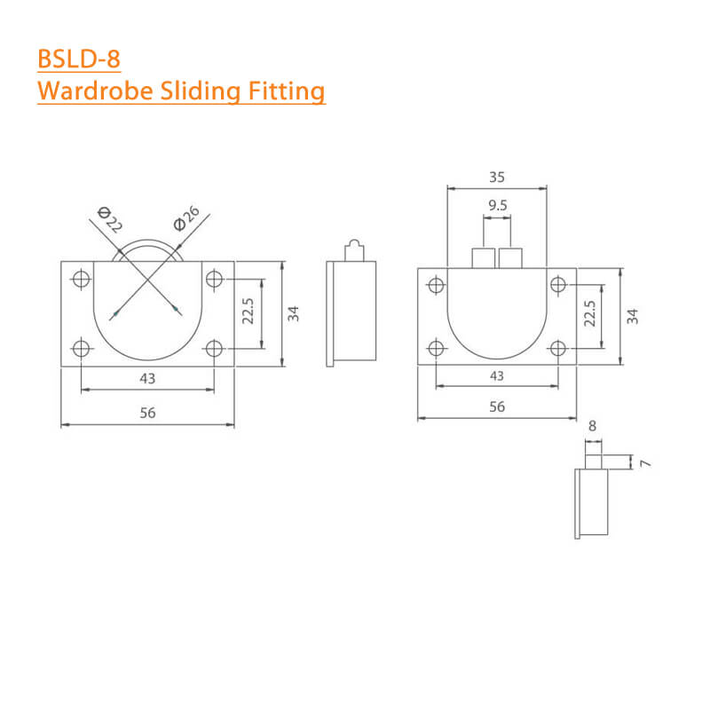 BTL Wardrobe Sliding Fitting - BSLD-8 - Specifications