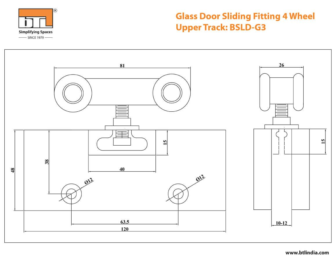 BTL BSLD-G3 Glass Door Sliding Fitting 4 Wheels - 80 Kg Adjustable- Specifications