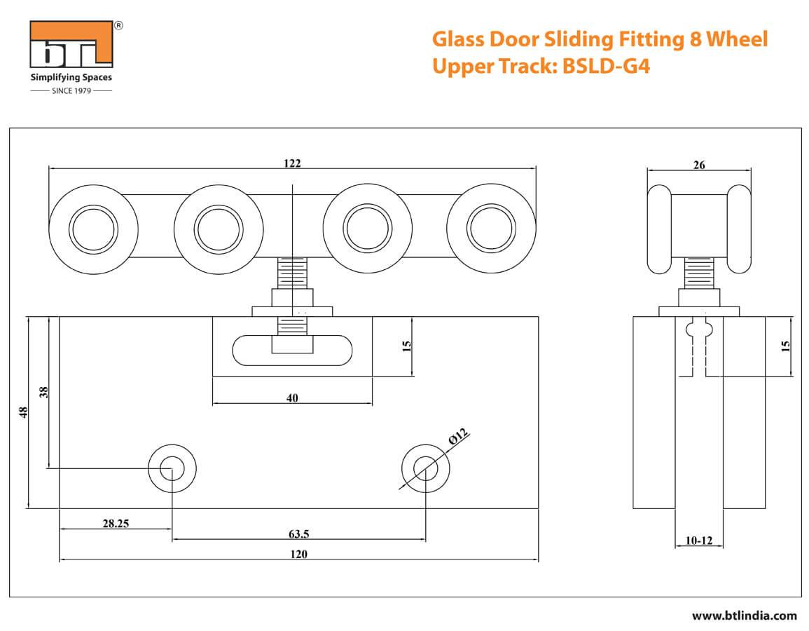 BTL BSLD-G4 Glass Door Sliding Fitting 8 Wheels - 120 Kg Adjustable- Specifications