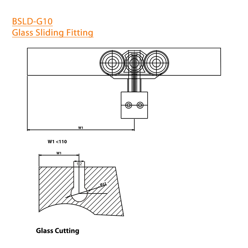 BTL durable Sliding Glass Door Fitting -  304 SS - Square- Specifications