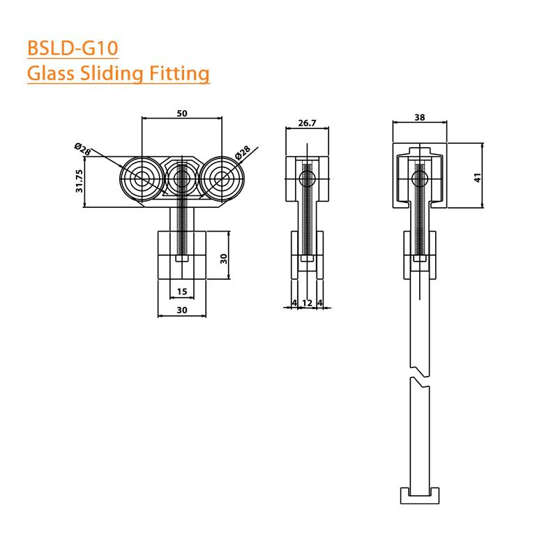 BTL BSLD-G10 Glass Door Sliding Fitting - 304 SS - Square