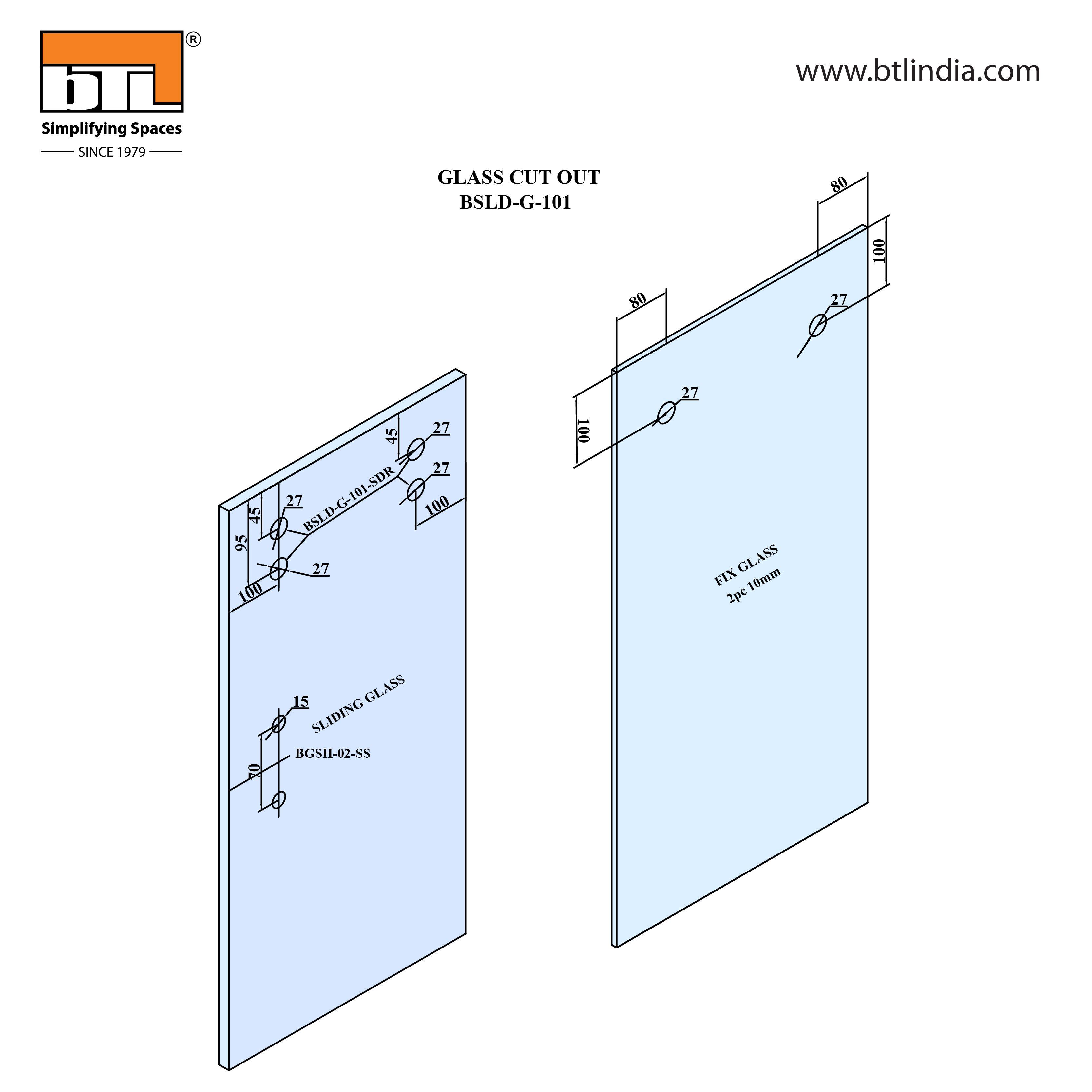 BTL BSLD-G101 Glass Door Sliding Set - G102 - Installation Instructions