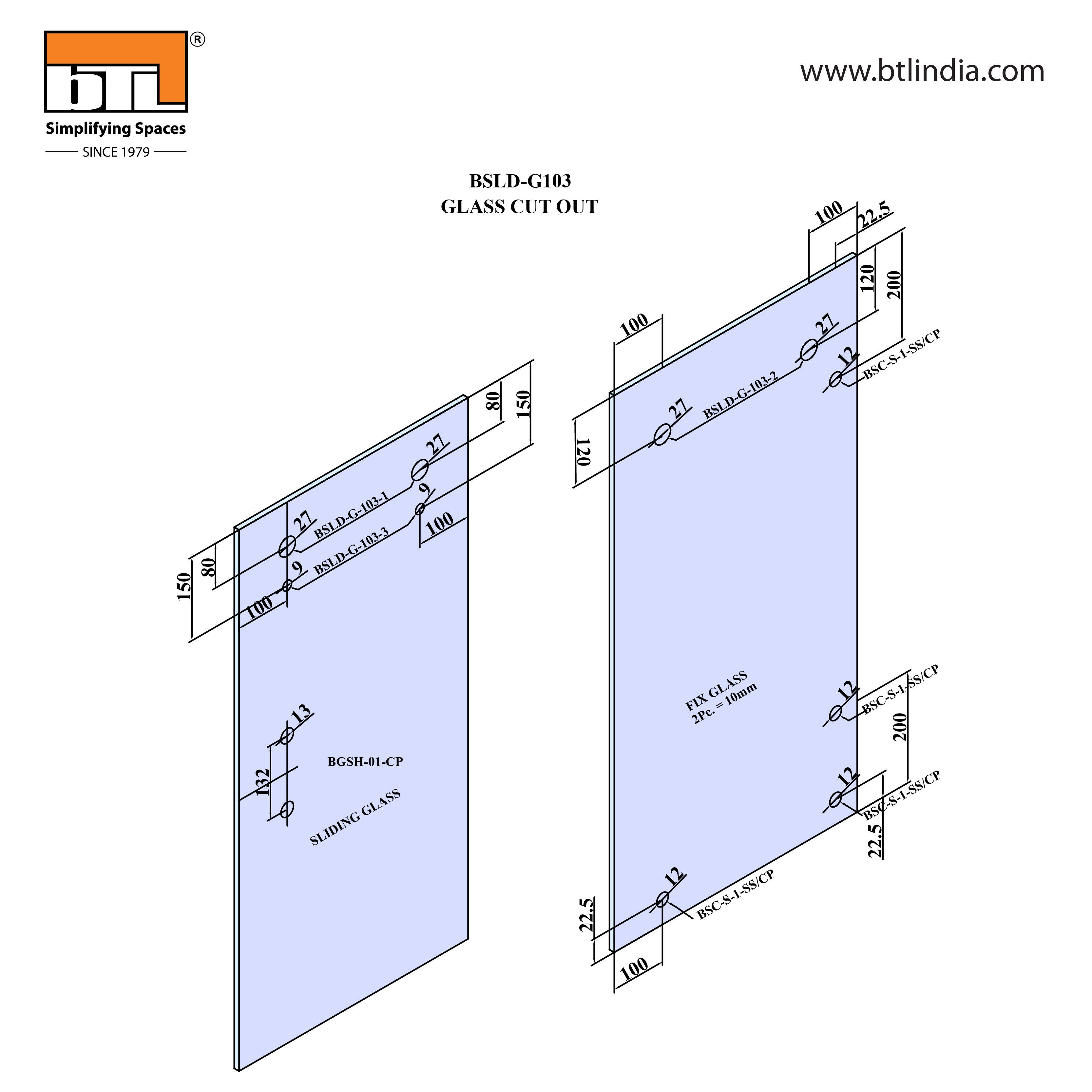 BTL Glass Door Sliding Set - G103 - Installation Instruction with Glass Door Cut out