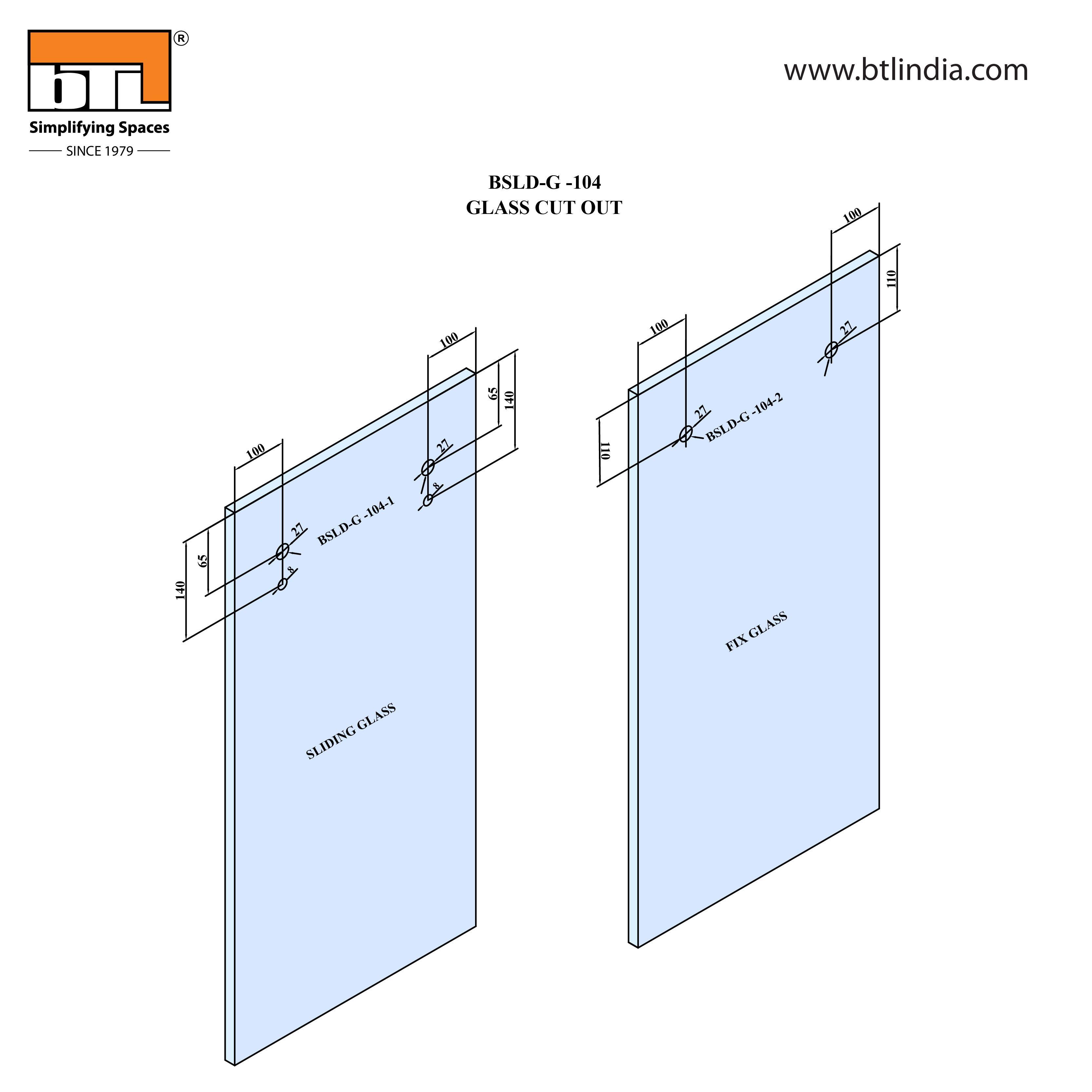 BTL Glass Door Sliding Set - G104 - Installation Instruction with Glass Door Cut out