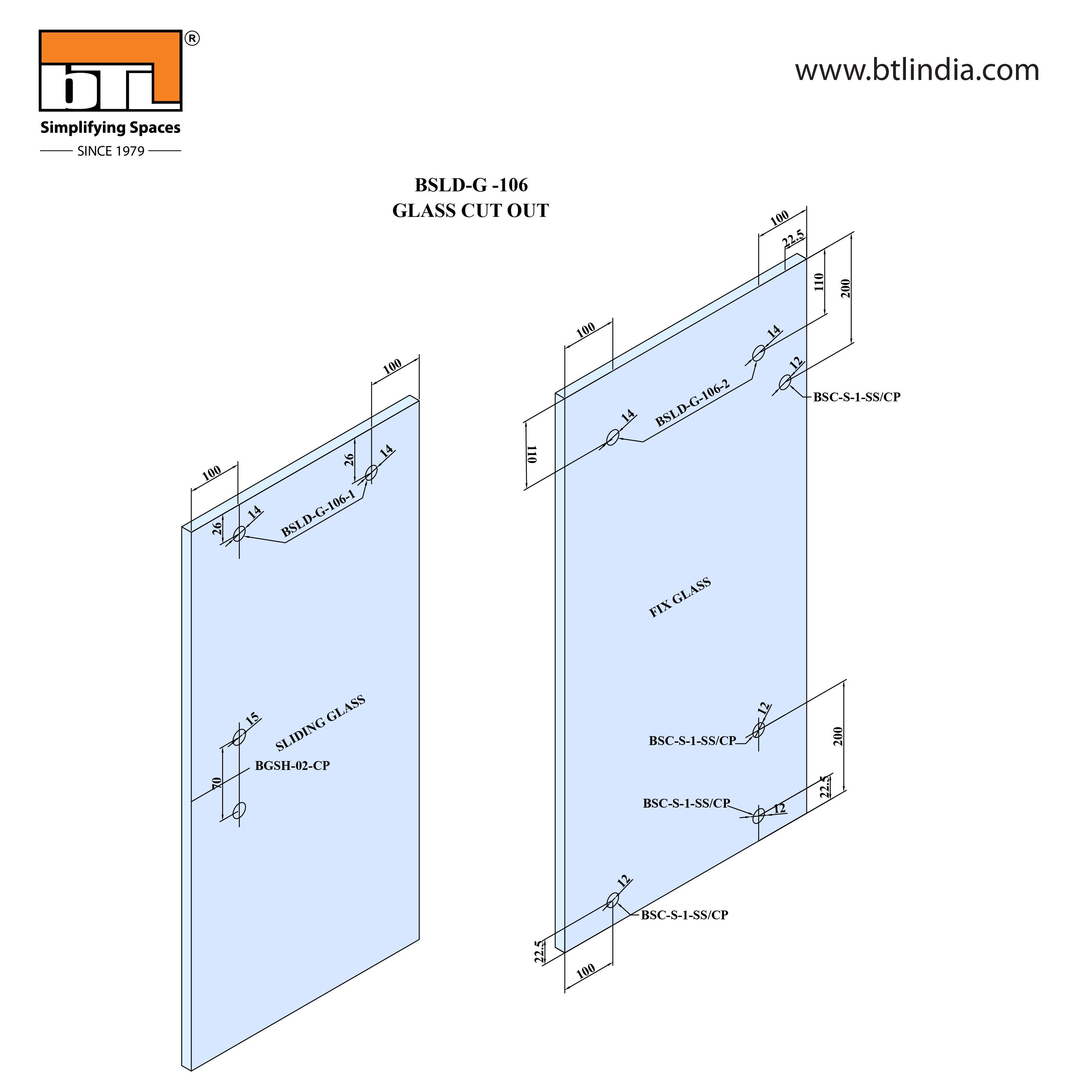 BTL Glass Door Sliding Set - G106 - Installation Instruction with Glass Door Cut out