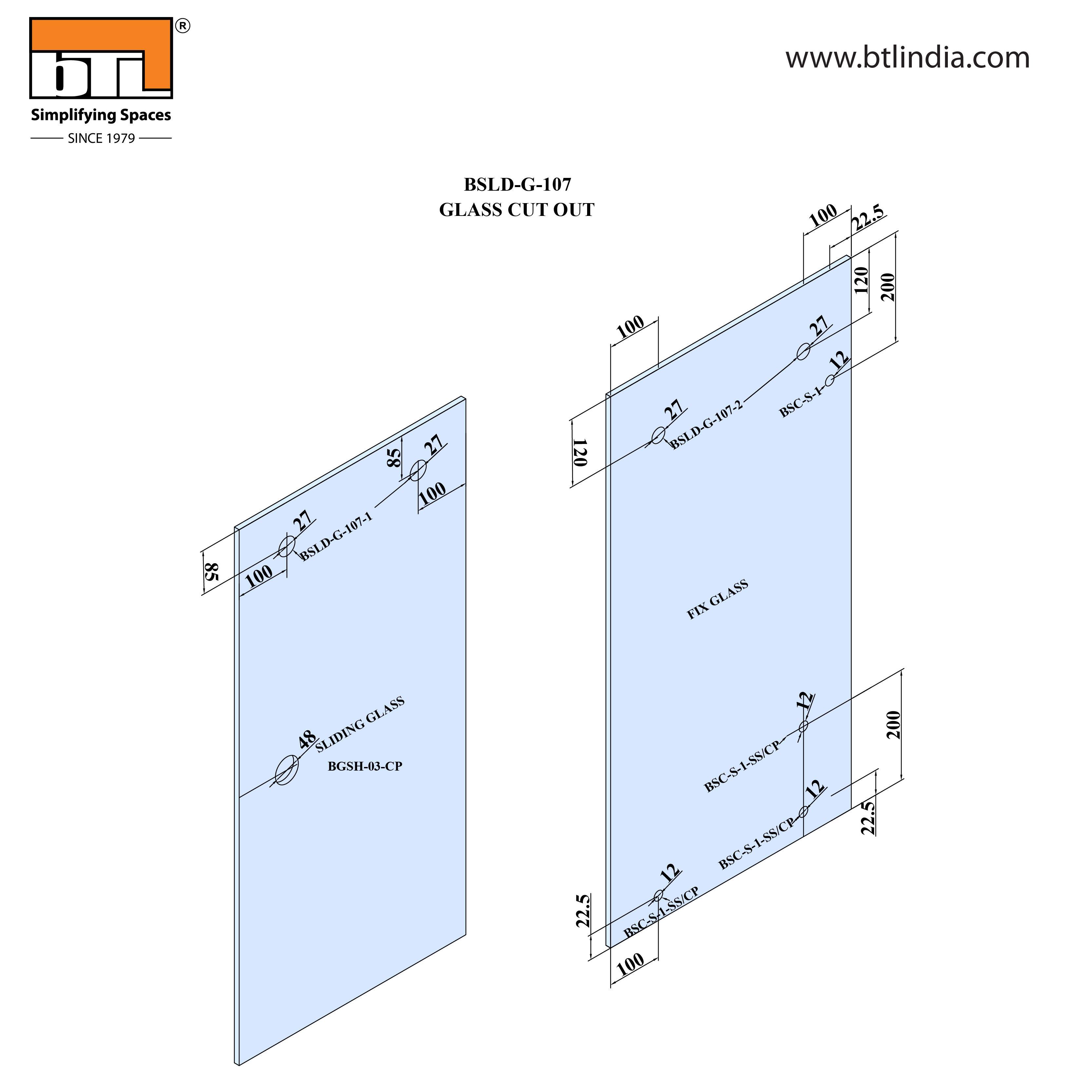BTL Glass Door Sliding Set - G107 - Installation Instruction with Glass Door Cut out