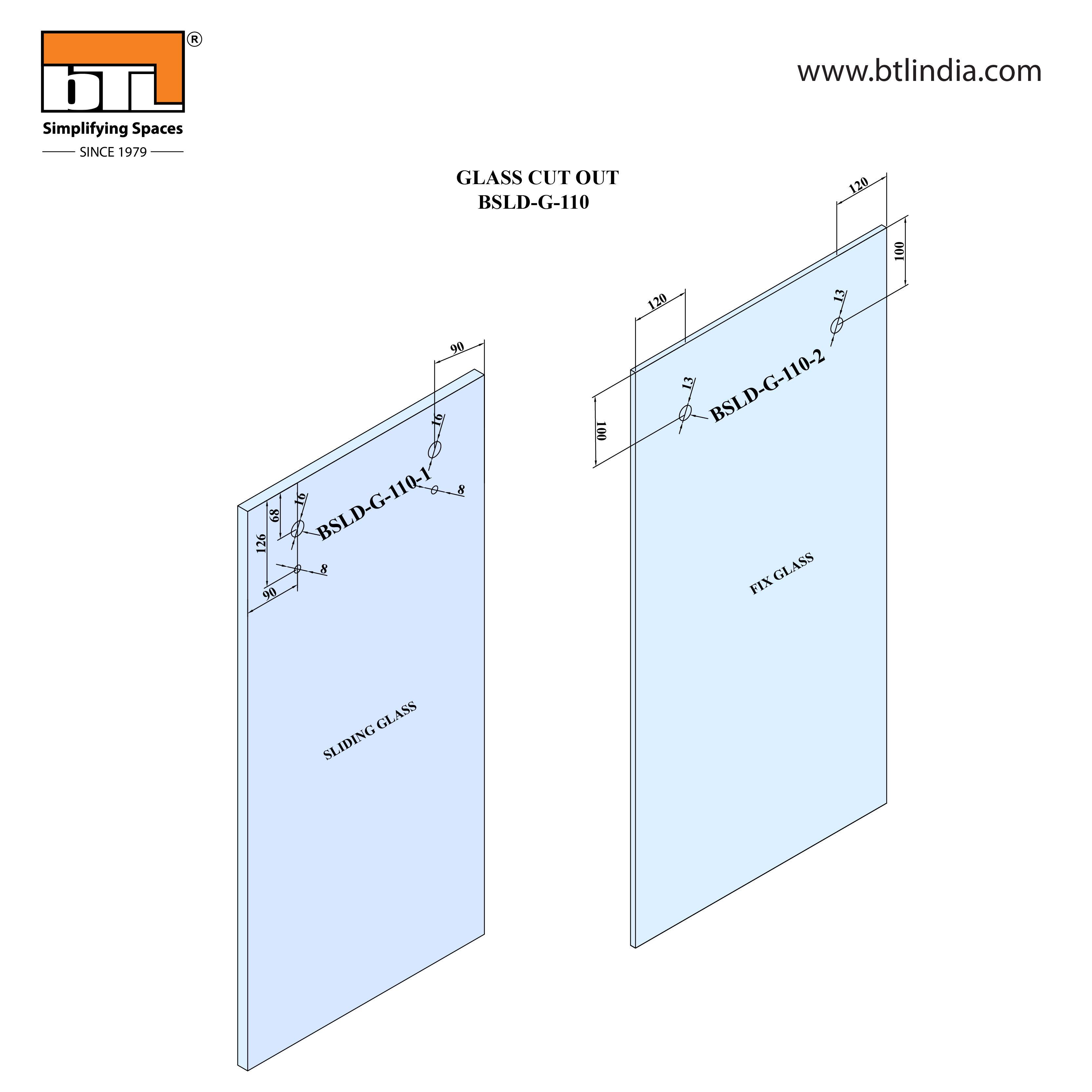 BTL Glass Door Sliding Set - G110 - Installation Instruction with Glass Door Cut out