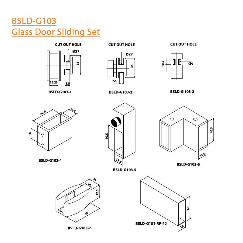 BTL BSLD-G103 Glass Door Sliding Set - G103 - Specifications
