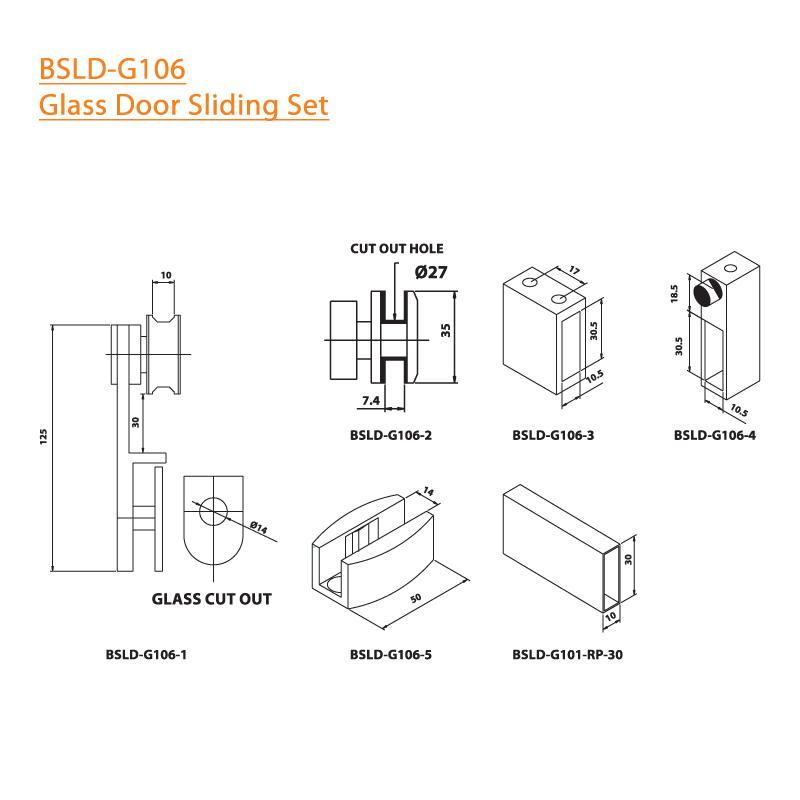 BTL BSLD-G106 Glass Door Sliding Set - G106 - Specifications