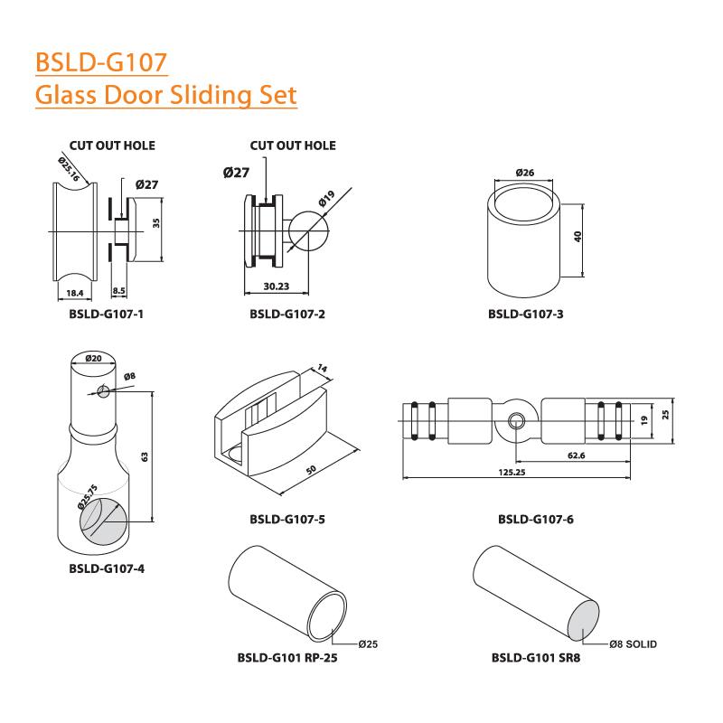 BTL BSLD-G107 Glass Door Sliding Set - G107 - Specifications
