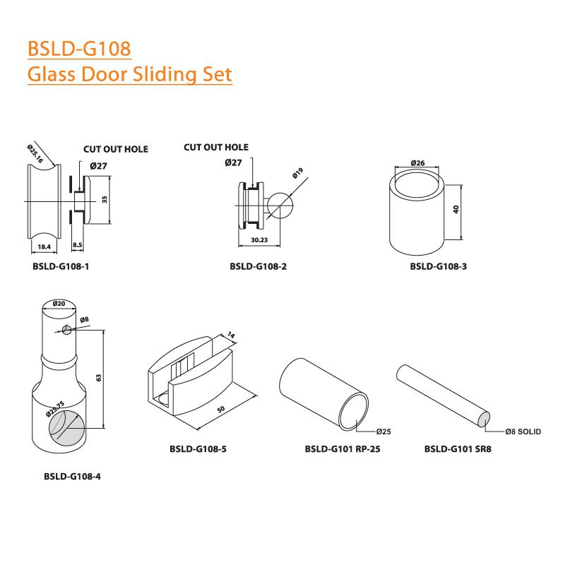 BTL BSLD-G108 Glass Door Sliding Set - G108 - Specifications