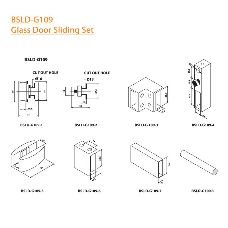 BTL BSLD-G109 Glass Door Sliding Set - G109 - Specifications