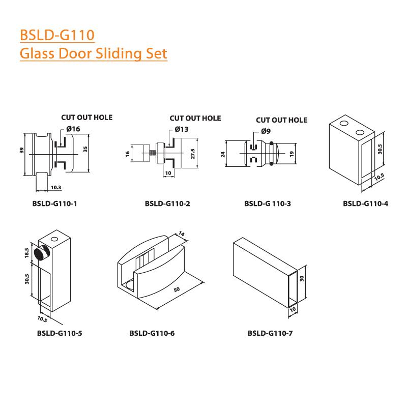 BTL BSLD-G110 Glass Door Sliding Set - G110 - Specifications
