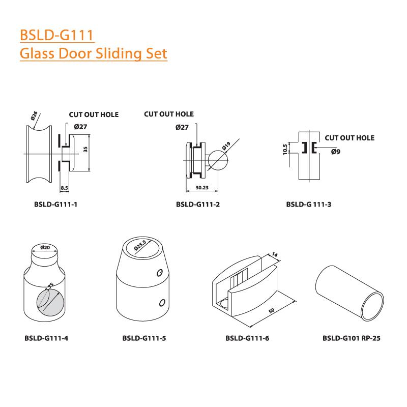 BTL BSLD-G111 Glass Door Sliding Set - G111 - Specifications