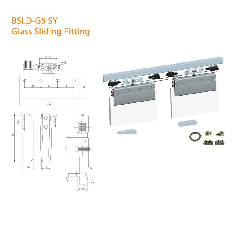 BTL BSLD-G5-SY Glass door Sliding Fitting Synchro-100Kg
