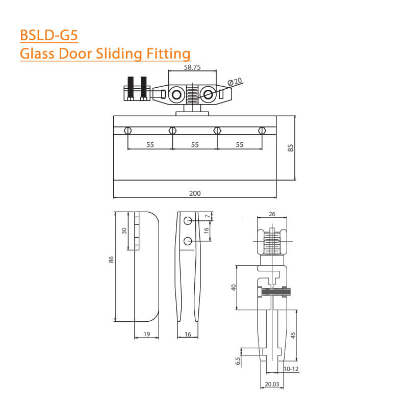 BTL BSLD-G5 Glass Door Sliding Fitting India- Specifications