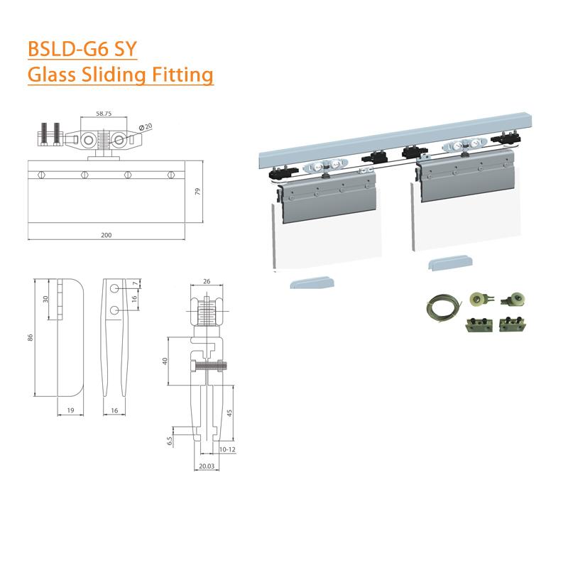BTL BSLD-G6-SY Glass Door Sliding Fitting Synchro-140Kg