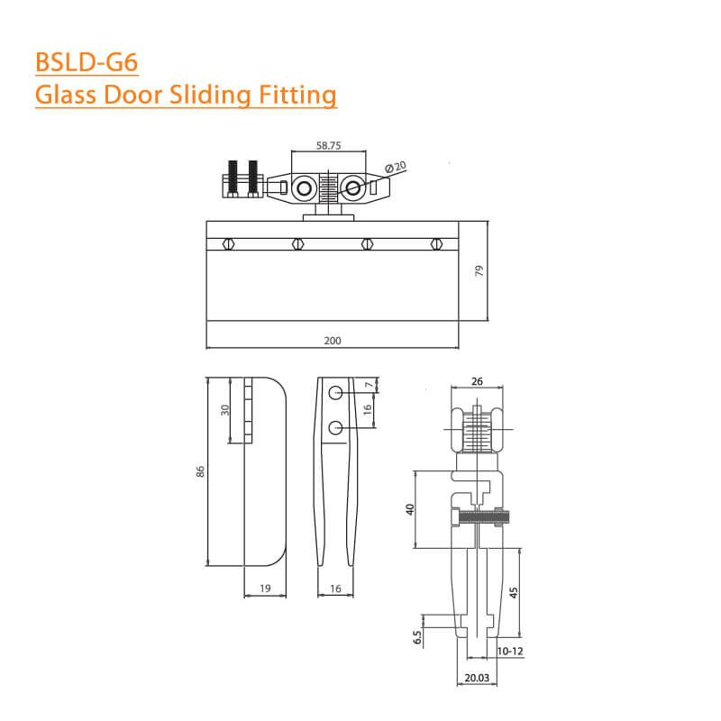 BTL BSLD-G6 Glass Door Sliding Fitting - 80Kg without Hole- Specifications