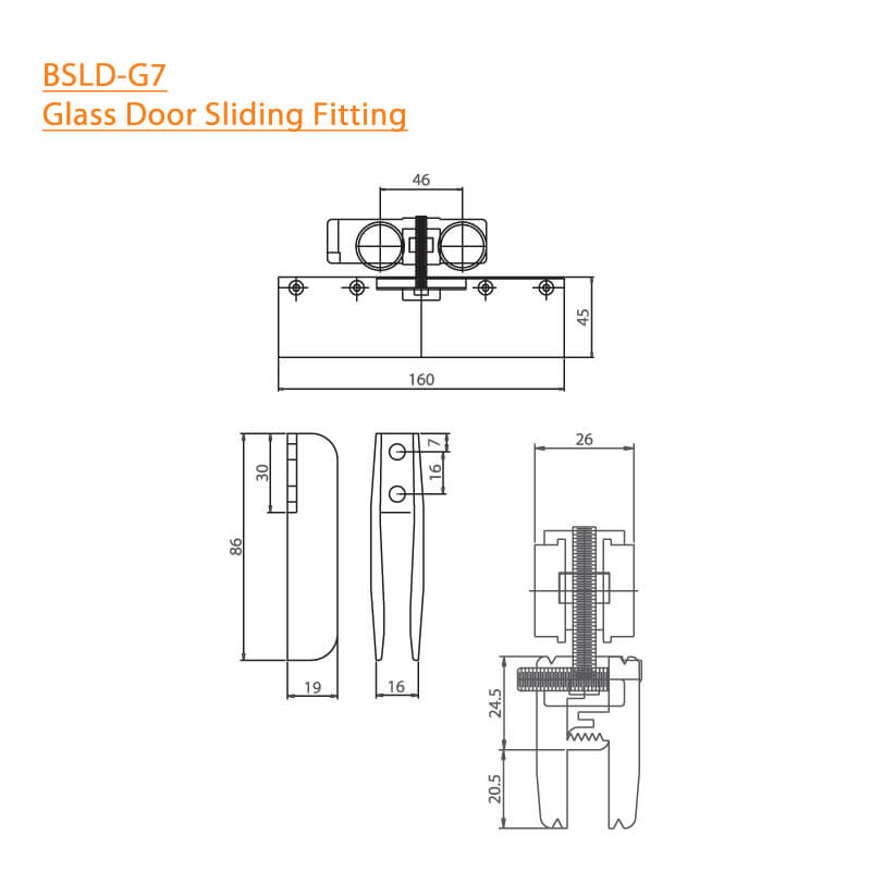 BTL BSLD-G7 Glass Door Sliding Fitting - can fit without Hole- Specifications