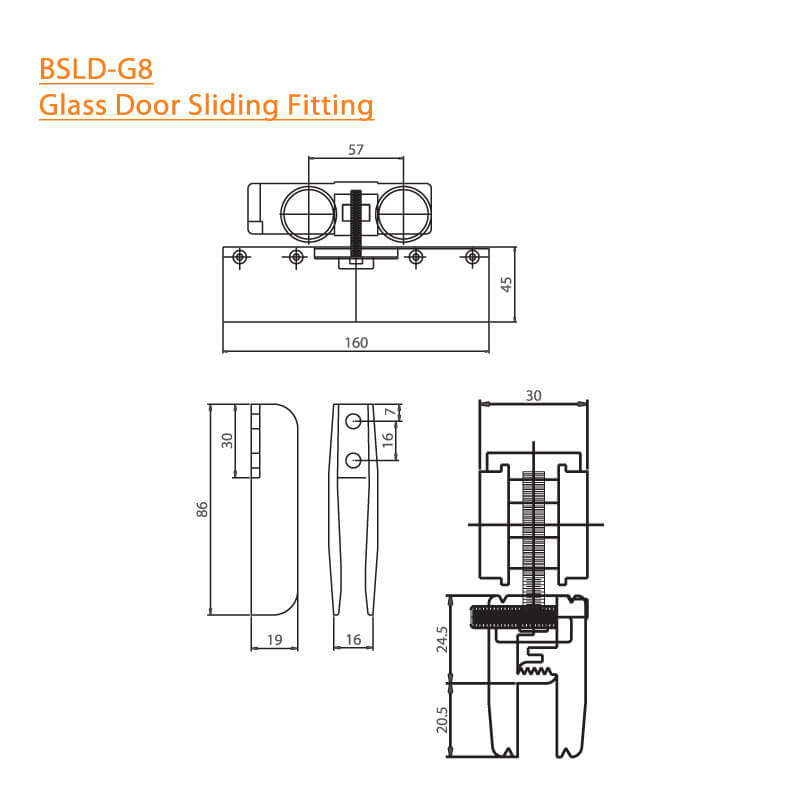 BTL BSLD-G8 Glass Door Sliding Fitting - 140Kg - can fit without Hole - Specifications