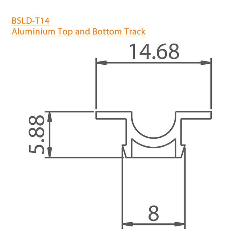 BTL Aluminium Top and Bottom Track - BSLD-T14-3Mtr