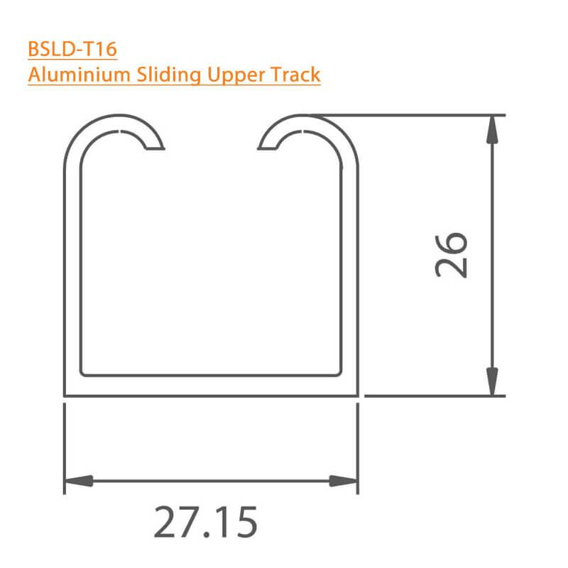 BTL Aluminium Sliding Upper Track - BSLD-T16 - 3mtr