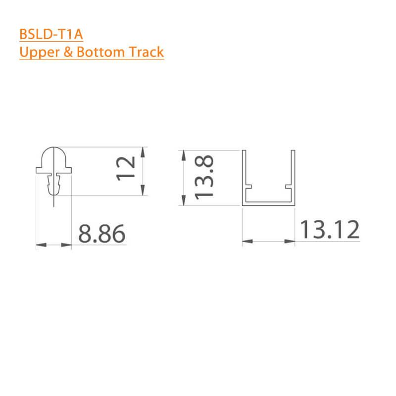 BTL BSLD-T1A-2MTR Aluminium Sliding Upper and Bottom Track - Length 2mtr