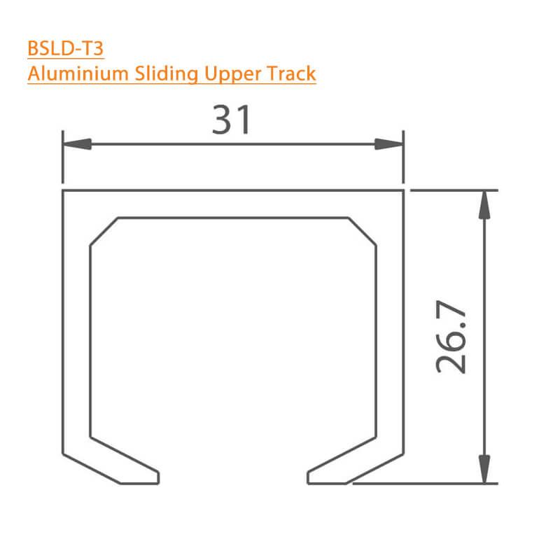 BTL Aluminium Sliding Upper Track - BSLD-T3 - Technical Specifications