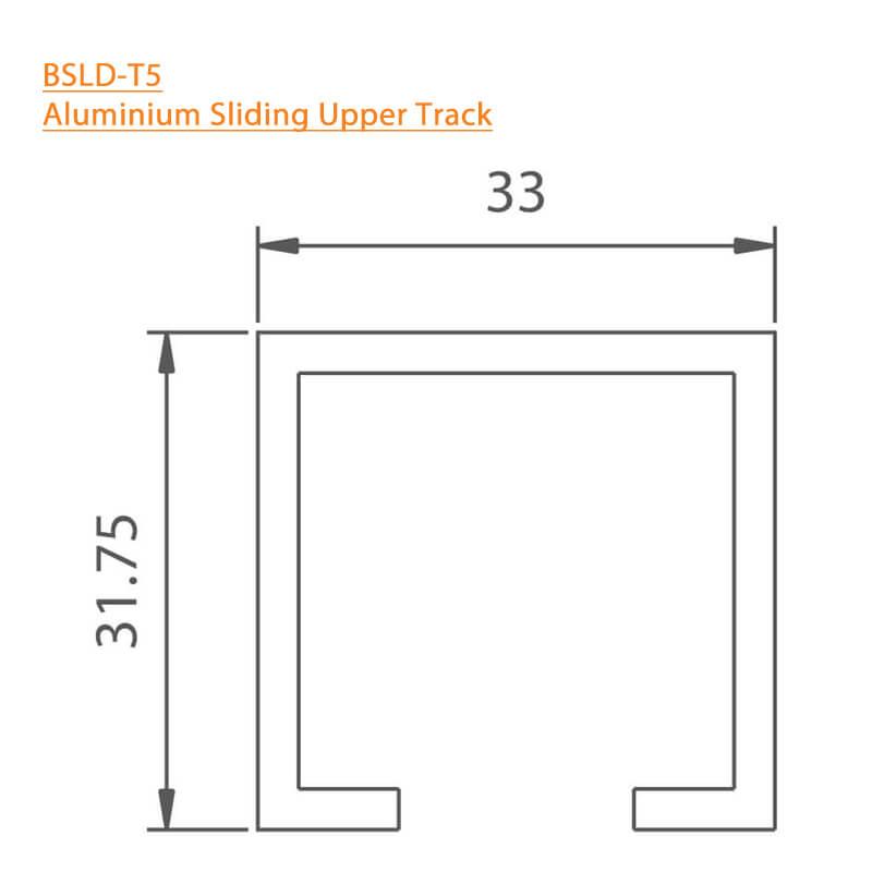 BTL Aluminium Sliding Upper Track - BSLD-T5 - Technical Specifications