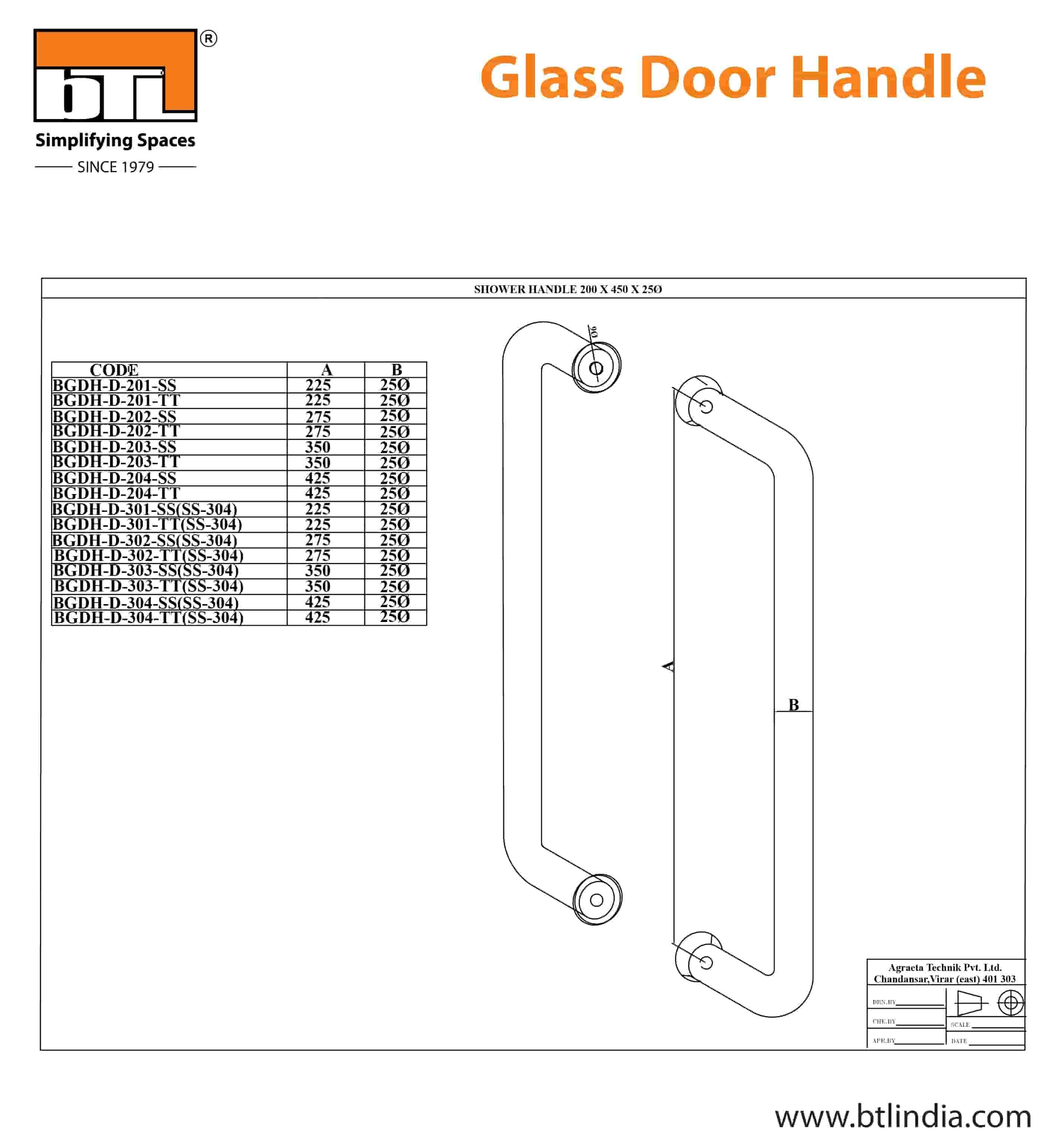 BTL BGDH-D-301-SS-SS304 Glass Door Handle SS - SS304 - 225x25 dia- Specifications