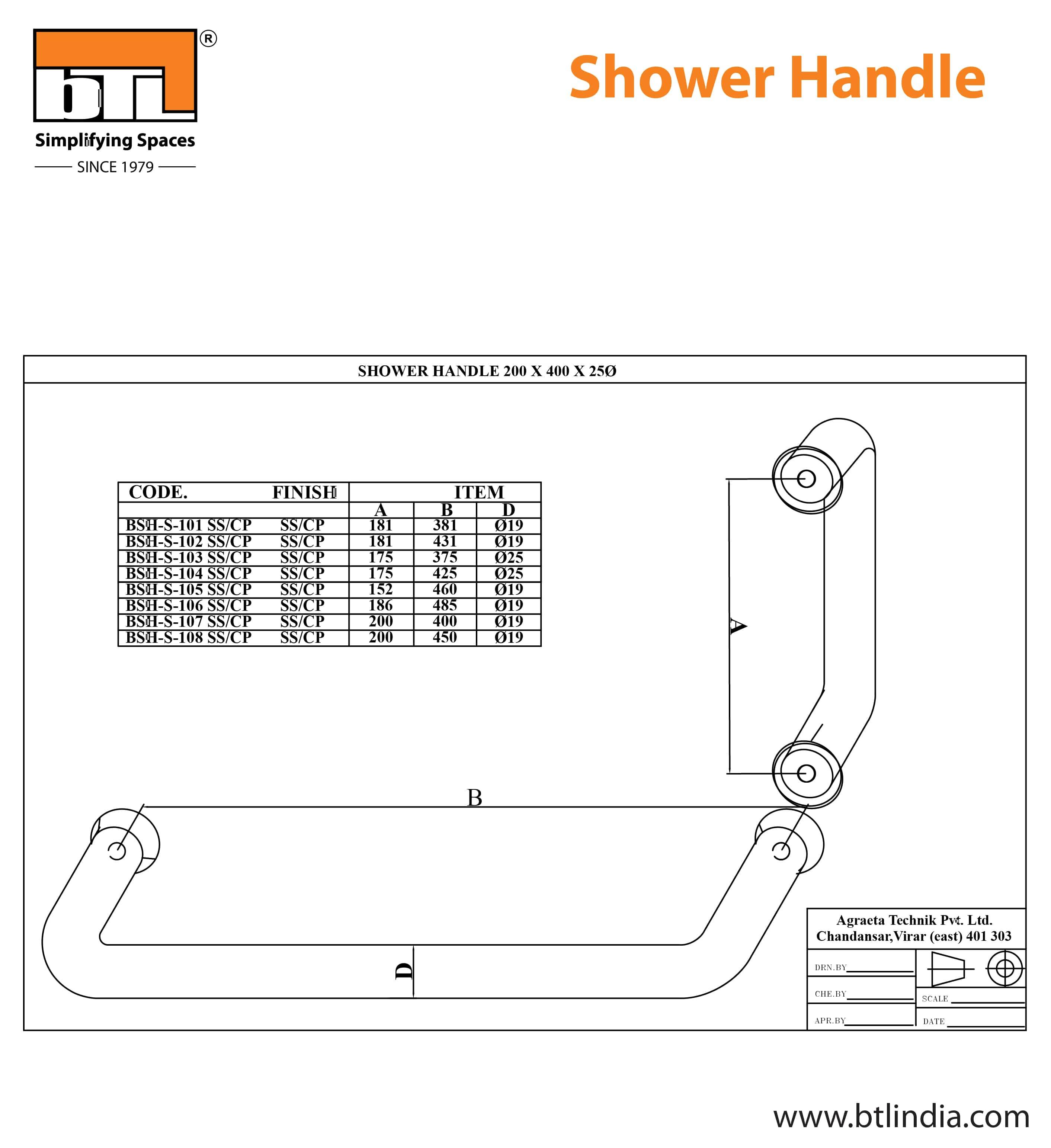 BTL BSH-S-101-SS Shower Handle - SS - 181x381x19 dia