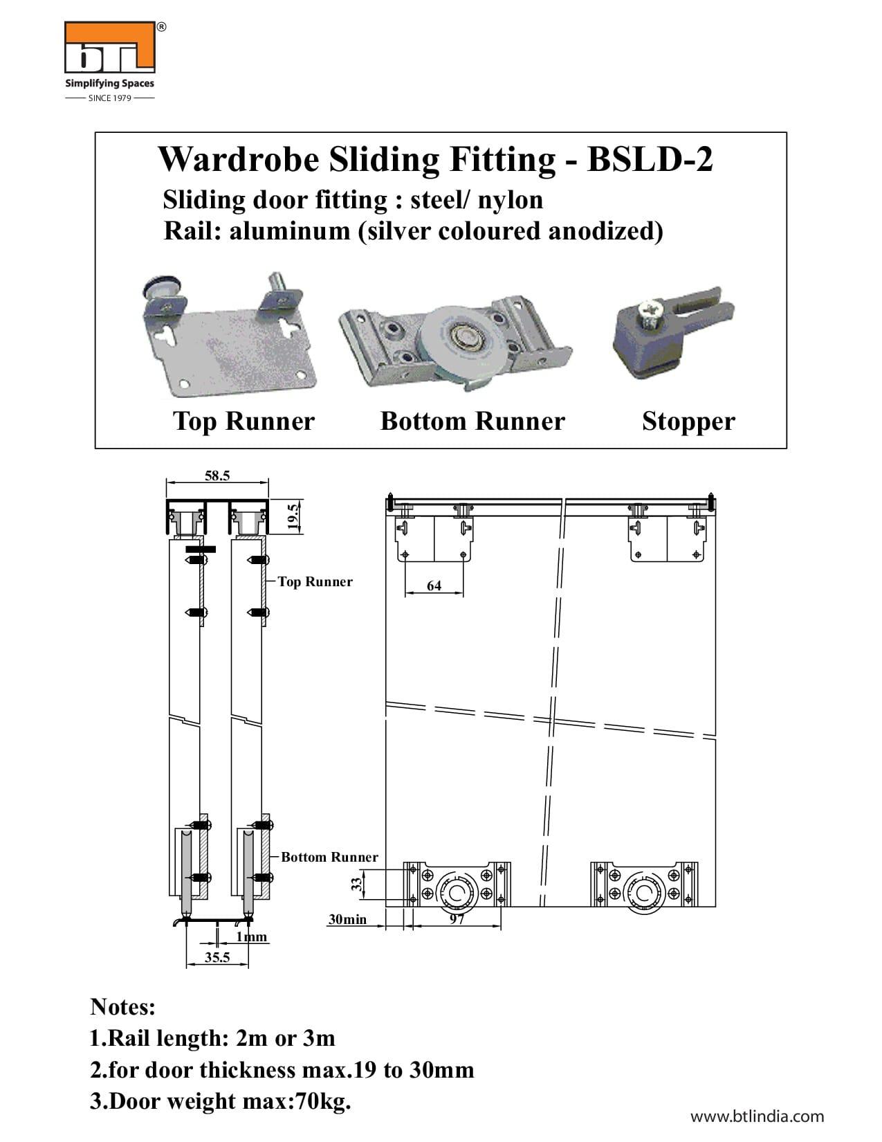 BTL BSLD-2 Heavy Duty Wardrobe Sliding Fitting - Specifications