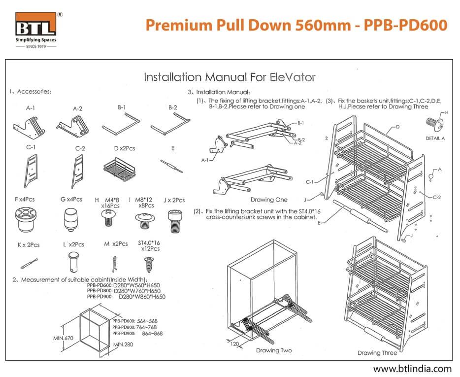 BTL PPB-PD600 Premium Pull Down - Installation Instructions
