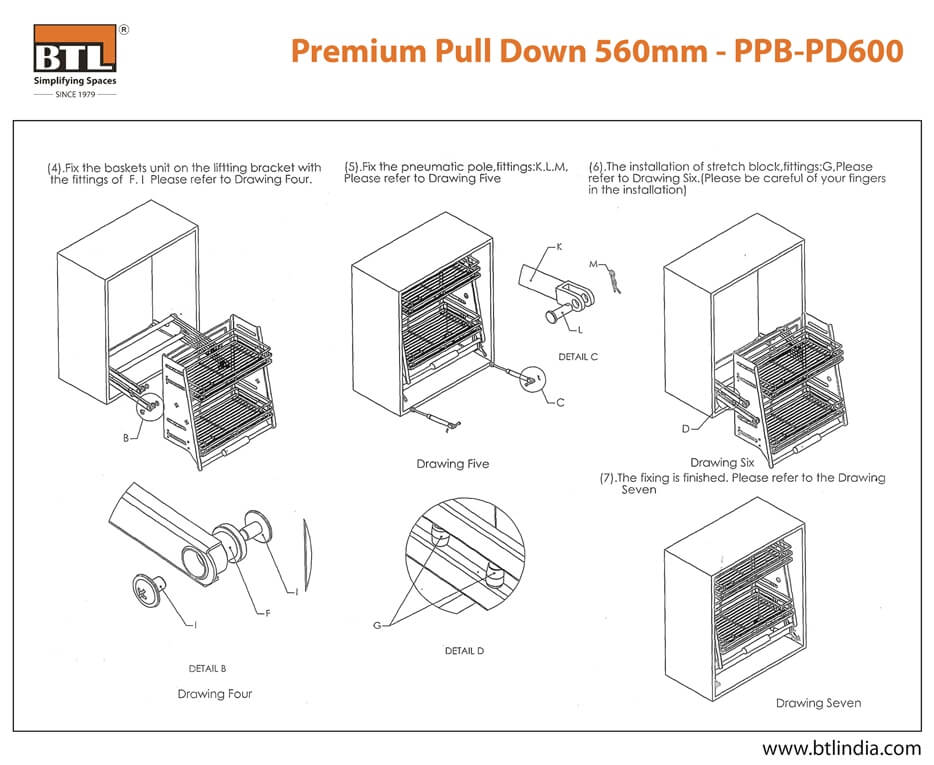 BTL PPB-PD600 Premium Pull Down - Technical Drawing Specifications
