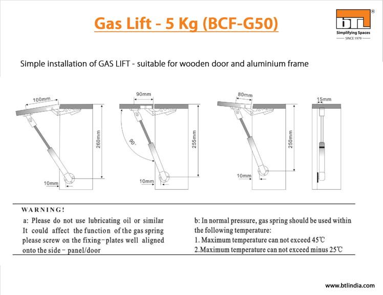 BTL Gas Lift - 5 Kg - BCF-G50 - Simple Installation Instructions