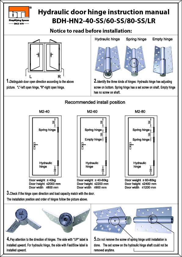 BTL BDH-HN2-40-SS-L Hydraulic Hinge For Wooden Door - Installation Instructions