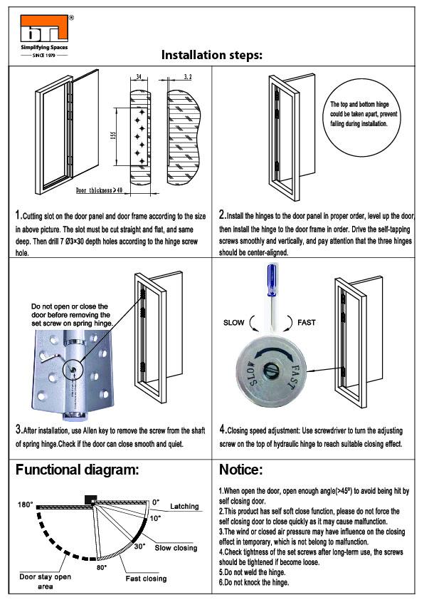 BTL BDH-HN2-40-SS-L Hydraulic Hinge For Wooden Door - Installation steps & Functional Diagram