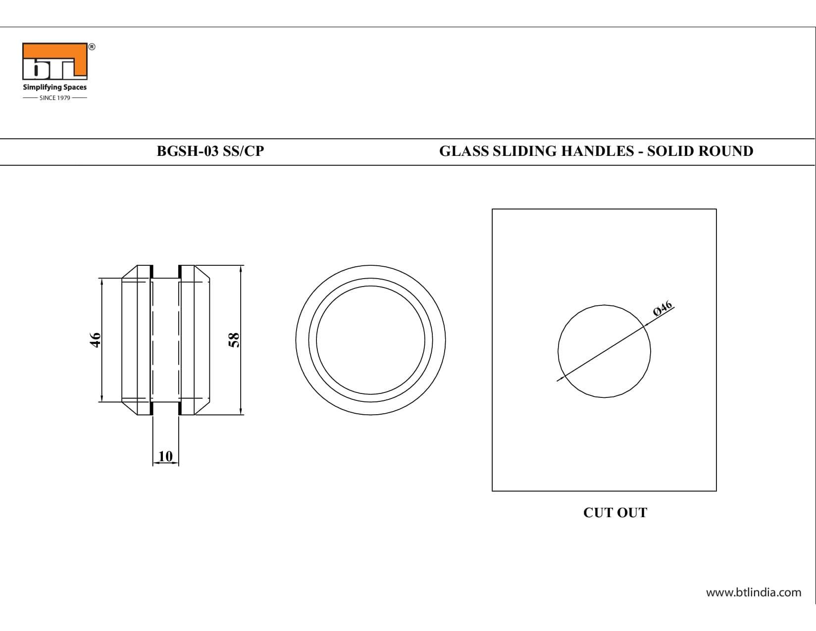 BTL BGSH-03-SS Glass Sliding Handles Solid Round-SS