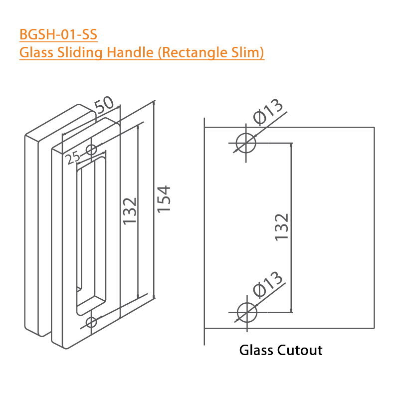 BTL BGSH-01-SS Glass Sliding Handles Rectangle Slim-SS