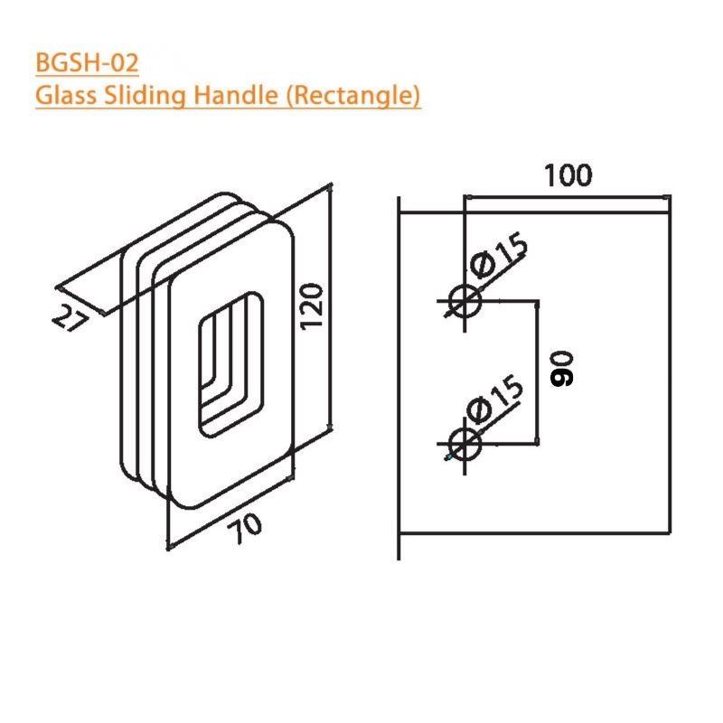 BTL BGSH-02-SS Glass Sliding Handles Rectangle-SS