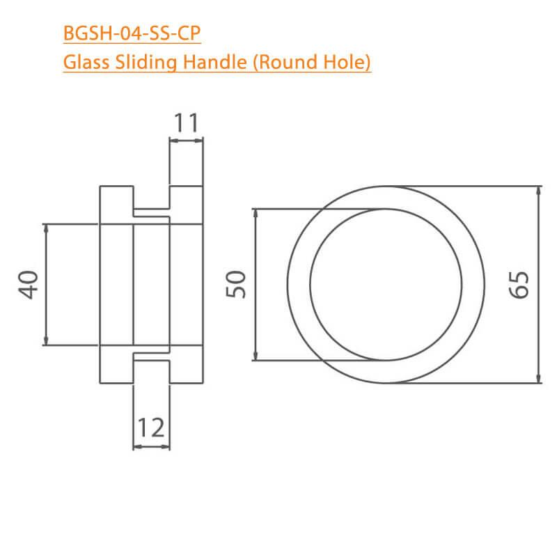 BTL BGSH-04-SS Glass Sliding Handles Round Hole-SS