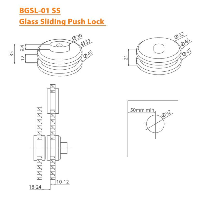 BTL BGSL-01-SS Glass Sliding Push Lock