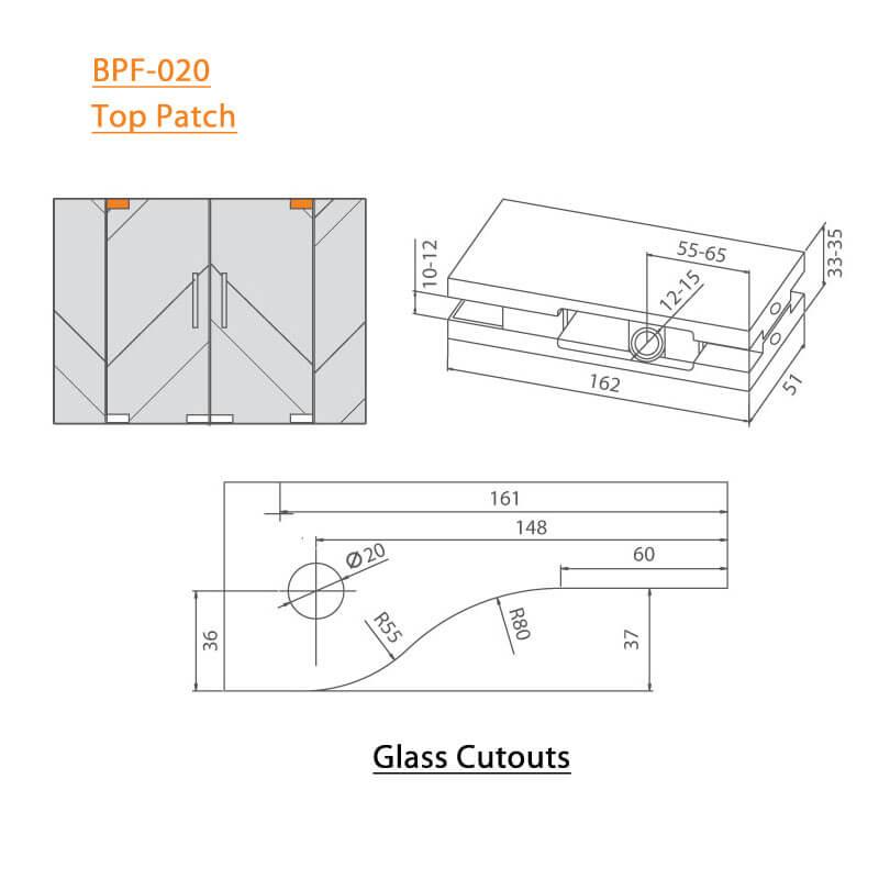 BTL BPF-020 Top Patch Glass Fittings
