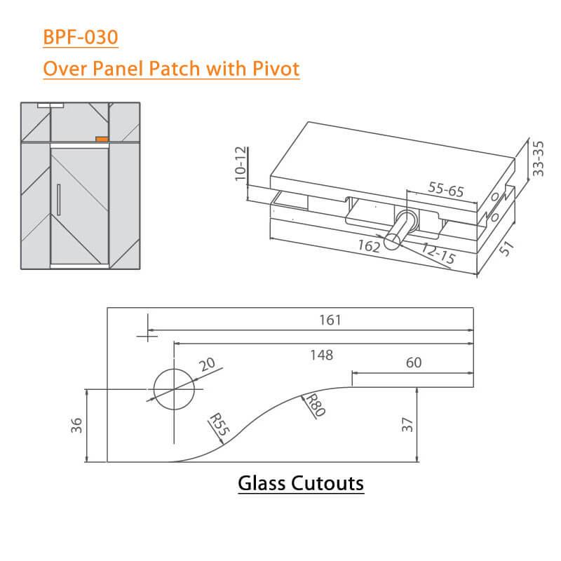 BTL BPF-030 Over Panel Patch Fitting With Pivot
